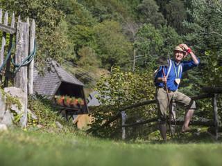 Senior man hiking in Middle Black Forest Baden-Württemberg, Germany