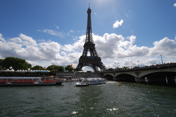 Eiffel Tower; bridge; landmark; body of water; waterway