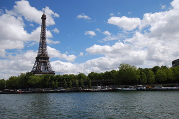 Eiffel Tower; sky; waterway; cloud; landmark