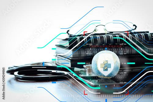 500_F_204244861_vE4dOy5SJXQBDakEtXcC1cZtK6CpEgwz hand drawn texture globe with blank social media diagram on digital
