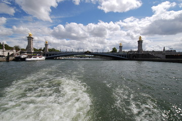Pont Alexandre III; waterway; sea; sky; river