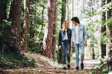 Young couple walking, hand in hand, through forest