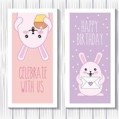 happy birthday rabbits kawaii cartoon celebrate card vector illustration