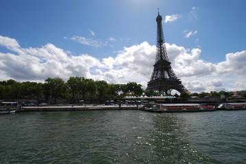Eiffel Tower; waterway; sky; landmark; river