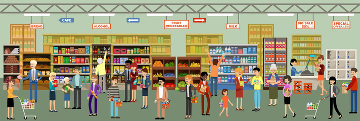 Supermarket interior with people