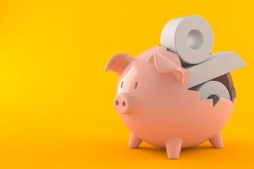Piggy bank with percent symbol