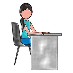 woman sitting in chair with desk vector illustration
