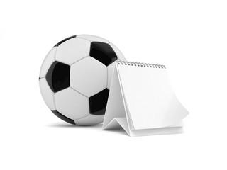 Soccer ball with blank calendar