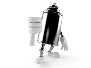 Spray can character with thumbs down gesture
