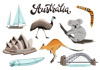 Set of Australian symbols in flat style. Australia opera, bridge, kangaroo etc isolated on white background. Vector illustration