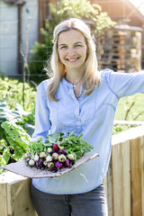 Woman is holding fresh bio radishes in her hands