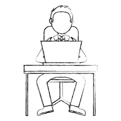 man working on a laptop computer office desk vector illustration
