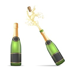 Champagne bottle isolated. Vector bottles of champagne, closed and with popping cork splash isolated on white background