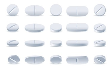 Pills. White medicine tablets isolated on white background, different round and oblong drugs collection vector illustration