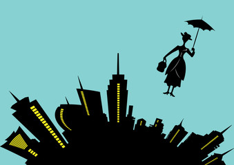 skyline city and silhouette girl floats with umbrella in his hand, vector illustration on light blue background