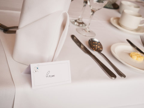 Groom Name card on Wedding Top Table