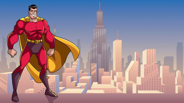 Smiling superhero standing tall on city background with copy space.