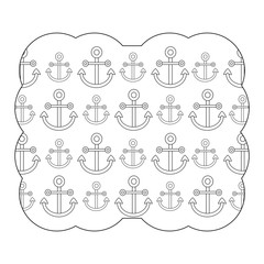decorative frame with anchors pattern over white background, vector illustration