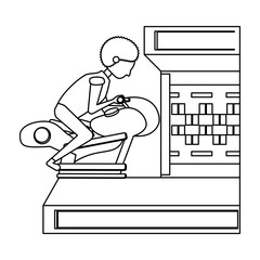 boy playing on motorcycle arcade machine over white background, vector illustration