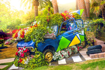 car flowers ecology concept in spring flower child green vehicle
