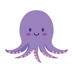 cute octopus icon over white background, vector illustration