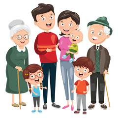 Vector Illustration Of Happy Family