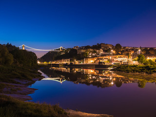 Clifton Bridge, Bristol (UK) at Dusk, Reflection in River, Long Exposure
