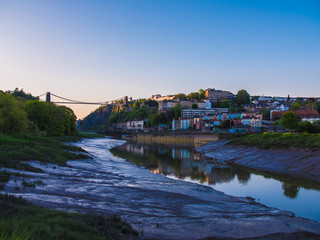 Clifton Bridge, Bristol (UK) at Sunset, Reflection in River