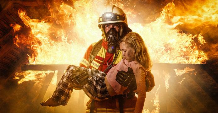 Feuerwehrmann rettet Kind - Panorama