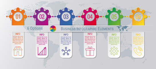 6-steps timeline infographic design vector template. Graphic elements with six options of business data