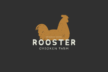 Logo template with hand drawn silhouette of rooster in vintage style on dark background. Chicken farm. Vector illustration.
