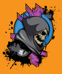 """Grim reaper"" poster. Vector hand crafted grim reaper mascot with paint splash and abstract elements. Good for logos, labels, posters, t-shirt design."