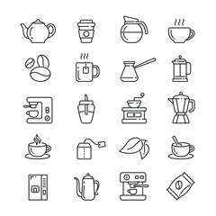 Coffee and Tea: thin vector icon set, black and white kit