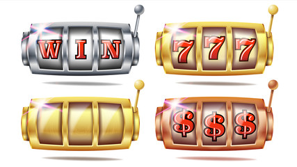 Slot Machine Set Vector. 777. Big Win Banner Element. Golden, Silver, Bronze. Spin Machine Template. Fortune Jackpot Casino Illustration