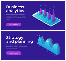 Set of banners on theme of strategy planning and business analysis. Image of growing charts, financial graphs. Financial review with infographic elements. Isometric illustration.
