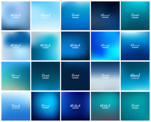 Mega pack of 20 blurred abstract background. Blue tone color collection set. Wallpaper and Texture concept.