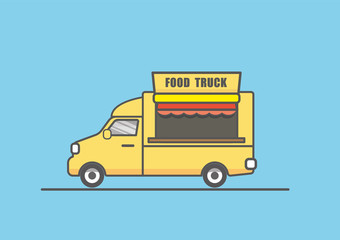 vector illustration of flat yellow food truck line art