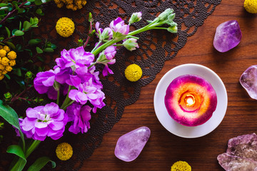 Purple Stones, Flowers and Candle
