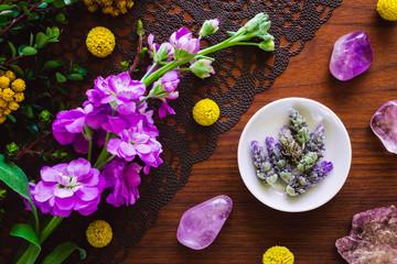 Purple Stones, Flowers and Lavender