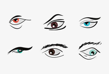 icon set of eyes with eyebrows over white background, colorful design. vector illustration
