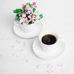 two cups tea drinking spring flowers freshness white pink