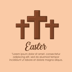 Infographic of easter design with religious crosses icon over orange background, colorful design. vector illustration