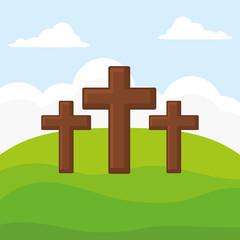 three religious crosses over landscape background, colorful design. vector illustration