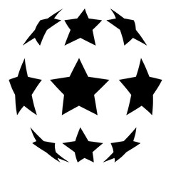 Stars in shape of soccer ball icon black color illustration flat style simple image