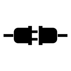 Socket and plug icon black color illustration flat style simple image