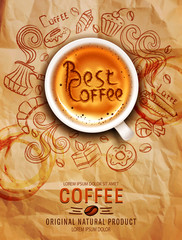 Hand-drawn vector doodles on a coffee theme: cups, turka, curls, cake, cinnamon, donuts, candies, coffee beans, sweets with cup of coffee on a background of old, crumpled paper . Elements for design