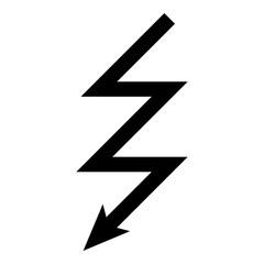 Lightning icon black color illustration flat style simple image