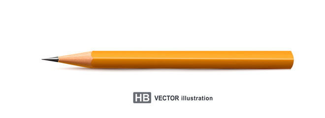 Vector illustration. Realistic pencil isolated on white background. Element for design.