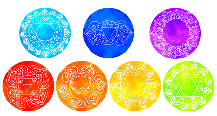 Set of watercolor chakras Hand drawing