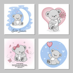 Cute Teddy bears vector illustrations. Set of birthday greeting cards, posters, prints for kids.